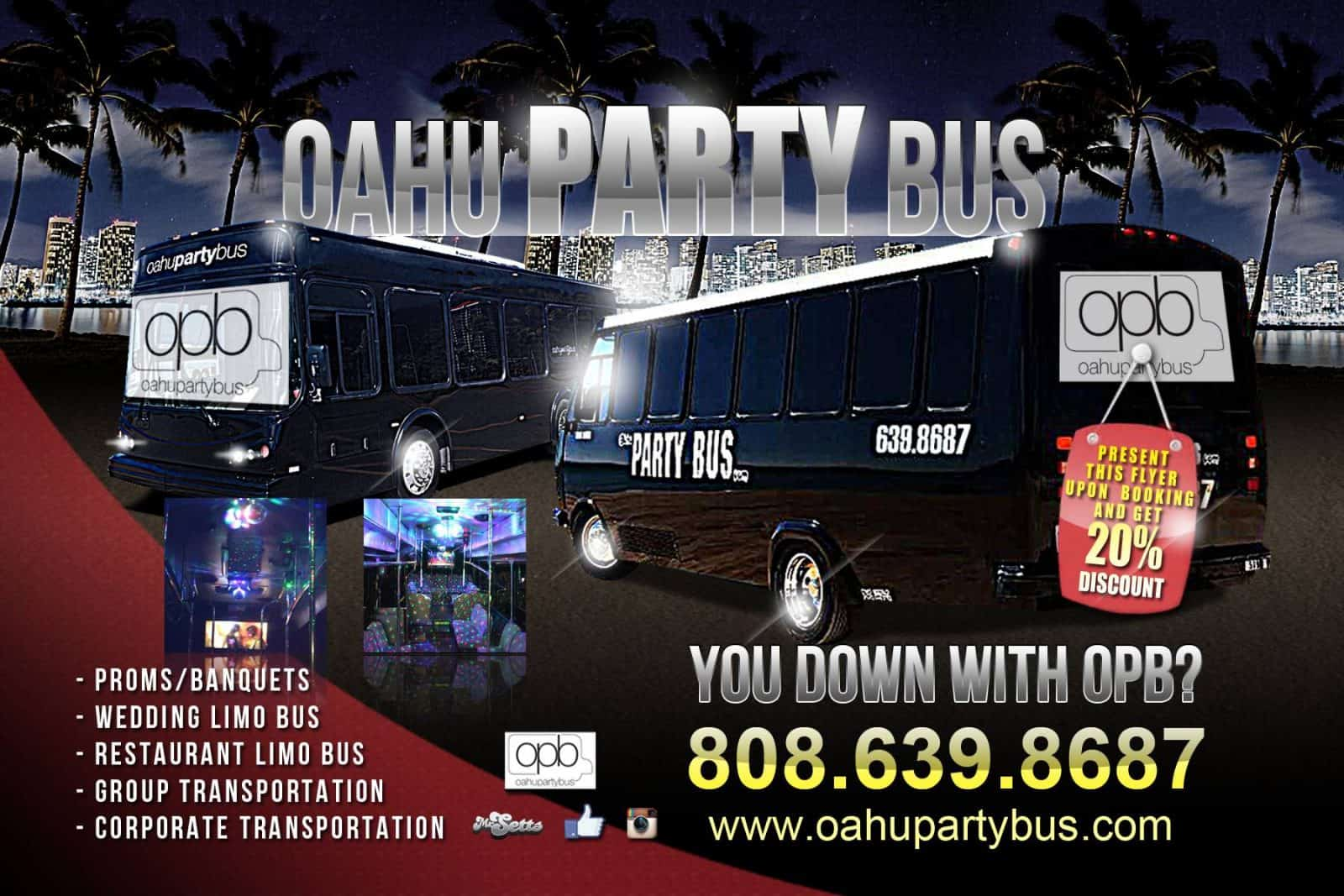 You Down with OPB? Proms, Banquets, wedding limo bus, restaurant limo, group transportation, corporate transportation hawaii