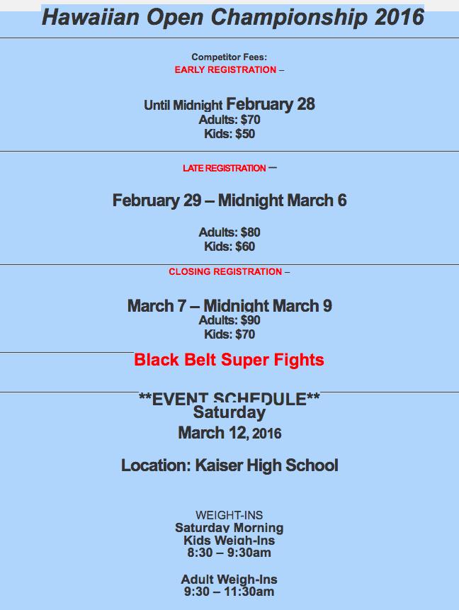 Hawaii Open Championship Registration Info