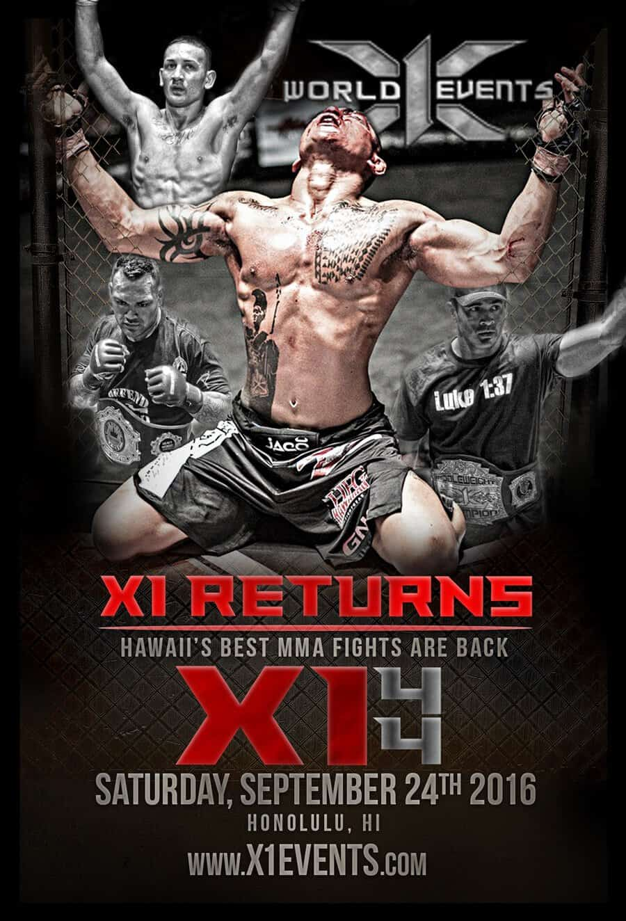 X1 World Events Hawaii's Best MMA Promtiotion Returns Sept 24