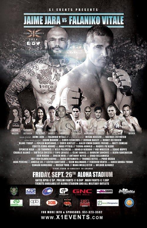 X1#43 : Jara vs Vitale September 26 2014 Fight Results