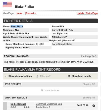 Blake Fialka mma profile