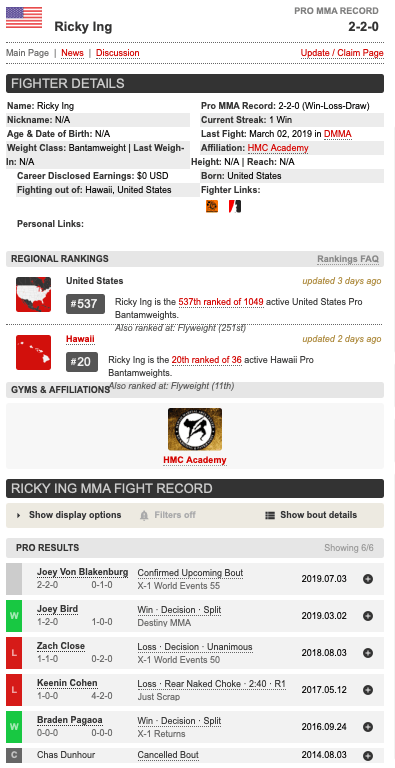 Ricky Ing MMA profile