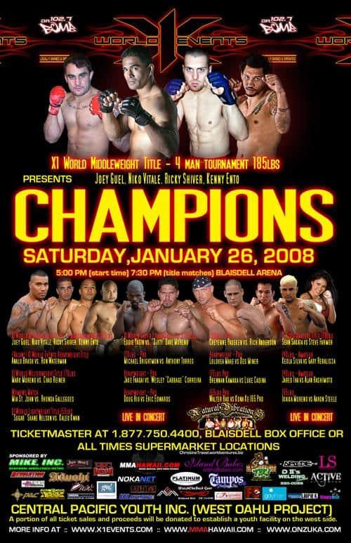 X1#12 : Champions 1 Jan 26,2008 Fight Results