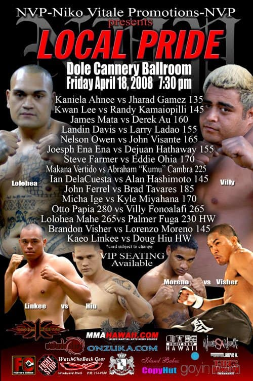 X1#14: NVP Niko Vitale Promotions April 18, 2008 Fight Results