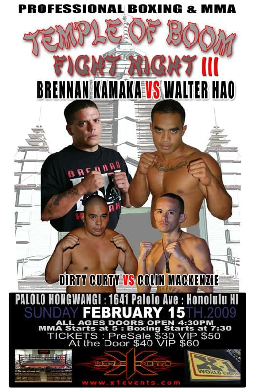 X1#21: Temple of Boom 3 (Feb 15, 2009) Fight Results