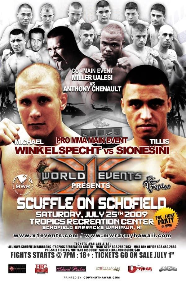 X1#26: Scuffle on Schofield 1 (Jul 25,2009) Fight Results