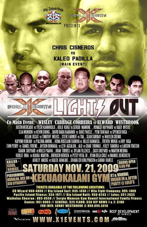 X1#28: Lights Out Kona 2 (Nov 21, 2009) Fight Results