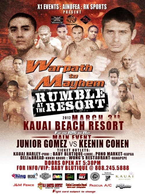 X1#41: Rumble At The Resort (Mar 3, 2012) Fight Results